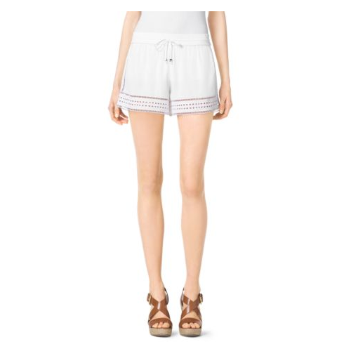 MICHAEL MICHAEL KORS Perforated Crepe Shorts WHITE